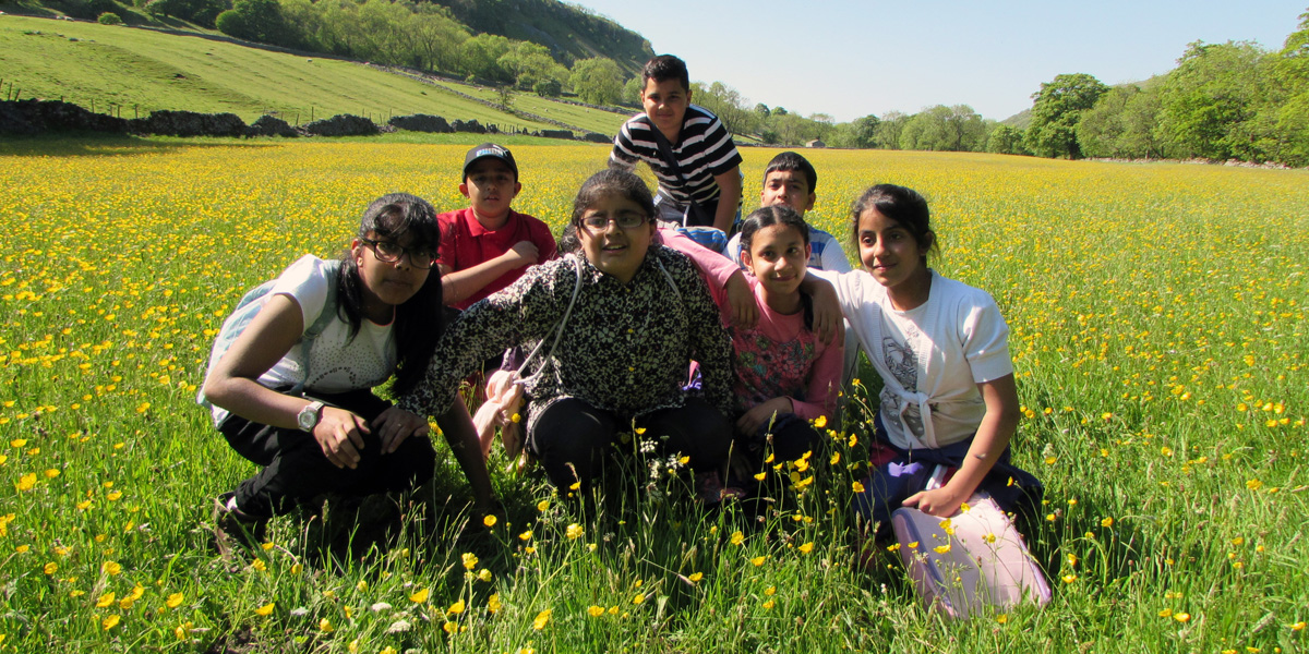 Young people explore a Yorkshire Dales wildflower meadow