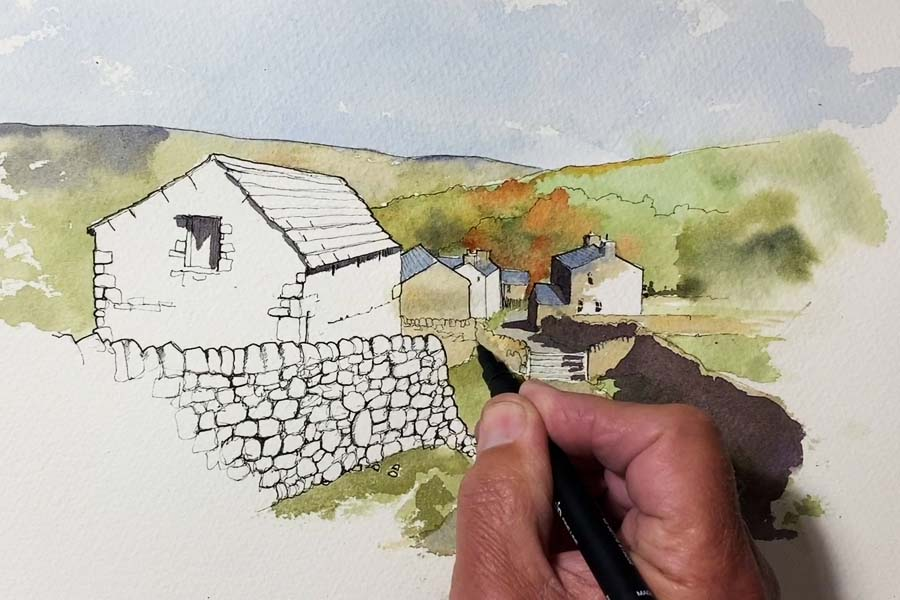 Line and wash drawing of Little Stainforth in the Yorkshire Dales