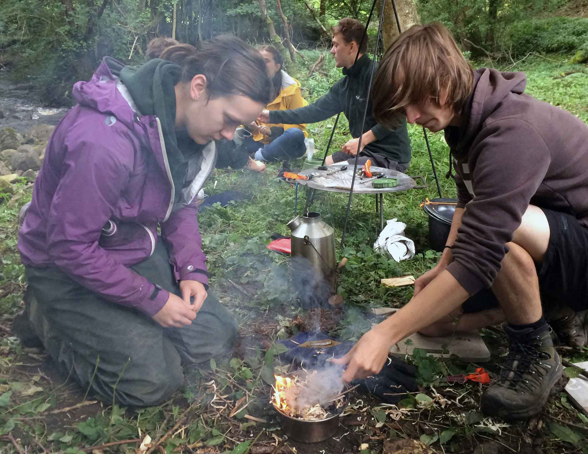 Environmental Apprentices taking part in woodland workshop in the Dales